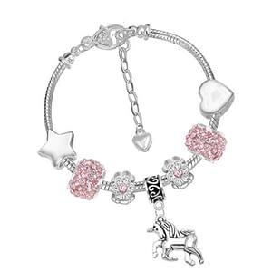 children's unicorn charm bracelet pink