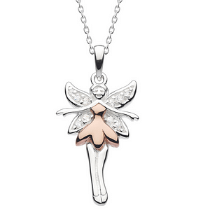fairy necklace for children stering silver and gold
