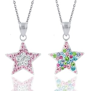 children's sterling silver star necklaces pink multi coloured