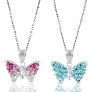 childrens necklaces sterling silver butterflies crystal butterfly