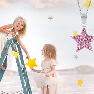 children's sterling silver crystal star necklaces reach for the stars