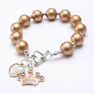 children's charm bracelet beaded jewellery gift for girls crown and heart