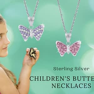 children's sterling silver butterfly necklace pink blue purple girl holding butterfly