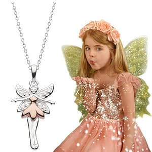 fairy necklace for children stering silver and gold and fairy girl blowing glitter