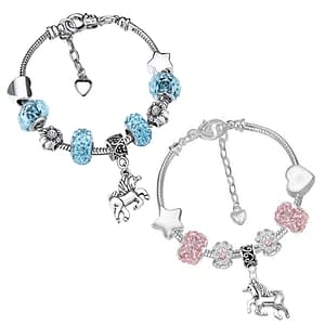 children's unicorn charm bracelets with crystal beads on snake chain