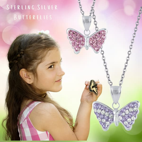 children's butterfly necklace sterling silver jewellery for girls